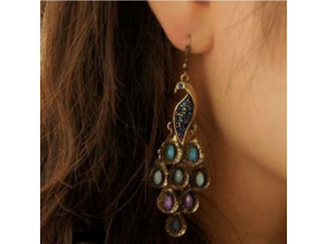 Bohemia Retro Style Drop Earring, Fashion Peacock Shape Inlaid Crystal Turquoise Long Earrings for Girls