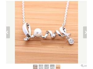Fashion Gold Plated Pendants Necklaces, Elegant Pearl Crystal Love Pendant Link Chain Necklaces for Girls(Silver)