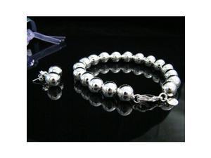 Fashion Popular Silver Plated Solid Bead Bracelets & Drop Earrings Jewelry Sets ( Bracelet + Earring ) for Women