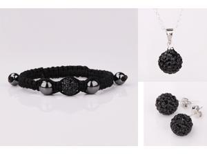 Trendy Women's Black Crystal Leather Bracelets Pendants Necklaces & Drop Earrings Jewelry Set for Wedding Party