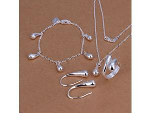 Awesome Chic Teardrop Shape Silver Plate Jewelry Sets ( Necklaces Bracelets Rings Earrings ) for Ladies