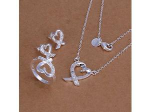 Charming Trendy Hollow Heart Kelp Shape Inlaid Crystal Silver Plate Jewelry Sets ( Necklace Earrings Rings) for Party