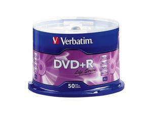 50 VERBATIM Life Series DVD+R 16X Branded Logo 4.7GB Media Disc Spindle 97174