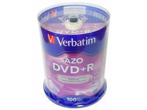 100 VERBATIM AZO Blank DVD+R Plus R 16X Branded Disc 4.7GB 100 pk Spindle