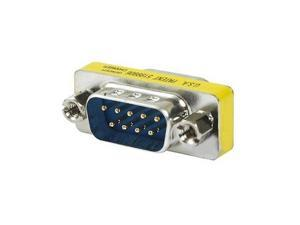Gender Changer: DB9 M to Male THIN Serial Cable Adapter Bulk 5 Pack