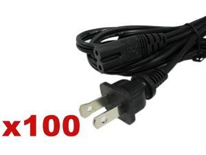 Lot 100 US 2 Prong Pin AC Power Cord Cable Charge Adapter PC Laptop PS2 PS3 Slim