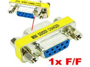 HQmade Serial DB9 9-pin RS232 DE9 Mini Adapter gender changer Connector for Cable Management F/F Female to Female