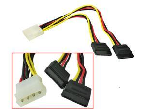 HQmade Molex IDE 4 Pin Male to 2 SATA 15-pin  Female Power Cable For Hard Drive / DVD / CD Rom HDD