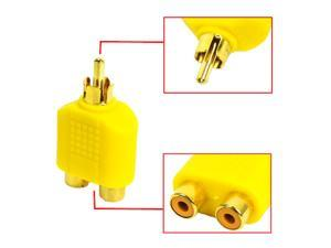 HQmade 1 to 2 RCA Connector Phono Connector Cinch Connector AV Audio Video Stereo Y Splitter Adapter M/F