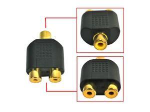 HQmade 1 to 2 RCA Phono AV Y-Splitter Adapter - Female To Female