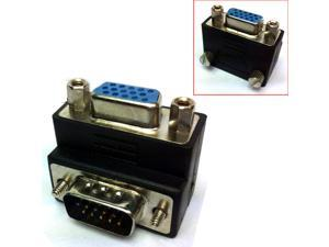 HQmade 15-Pin VGA Connector Male to Female M/F Right Angle HD15 DB15 Adapter Gender Changer