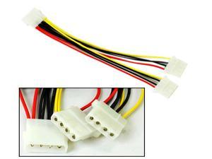 HQmade Molex D IDE 4-pin Power Cable Splitter Adapter Lead - 1x Male to 2x Female Connectors <Flat Rated Shipping>