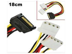 HQmade SATA (Male) to 2x Molex IDE 4-pin (Female) Power Adapter Cable - Serial ATA Power Connector to LP4 Y- Splitter Lead