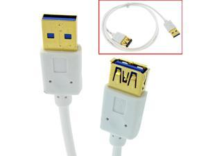 HQmade 3' SuperSpeed USB3.0 Extension Cable USB 3.0 Male to Female White Lead Gold Plated- 1.0M
