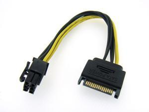 "HQmade SATA to PCI-Express Power Cable - SATA 15-Pin Male to PCI-E 6-Pin Female Converter - Power supply to PCI-E - 8"""