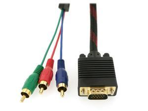 HQmade VGA to Component RGB, D-sub 15-Pin to 3 Phonos RCA Video Adapter Cable -1.5M(5')