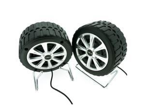 Tyre Speaker w/ 3.5mm Jack, 2.0 Speakers For Laptop Desktop PC - Black