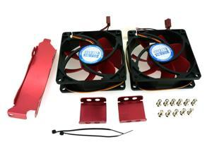 PC Cooler V8 Dual 80mm Cooling Fans with Universal Fixing Slot - For  VGA Graphic Card Cooler Replacement