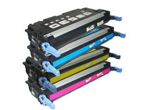 ColorBlack® Set Of 4 Colors Premium Remanufactured HP 501A / 502A ( Q6470A BK, Q6471A CY, Q6472A YL, Q6473A MG ) Toner Cartridges With Chip,  Suitable for use in HP LaserJet 3600 ...