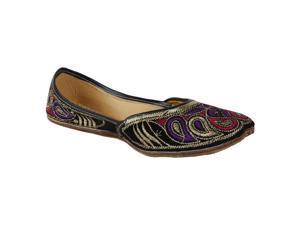 Saashiwear Women handcrafted Indian Ethnic Flat Shoes Jutti