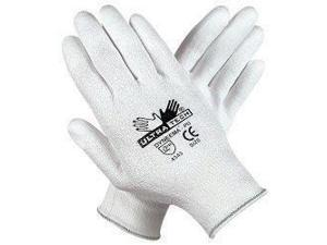 Memphis Large UltraTech® 13 Gauge Cut Resistant White Polyurethane Dipped Palm And Finger Coated Work Gloves With Dyneema® Liner And Knit Wrist