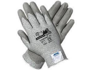 Memphis Large UltraTech® 13 Gauge Cut Resistant Gray Polyurethane Dipped Palm And Finger Coated Work Gloves With Dyneema® Liner And Knit Wrist