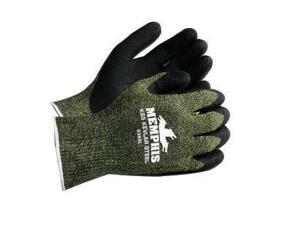 Memphis Large KS-5 13 Gauge Cut Resistant Black Latex Dipped Palm And Finger Coated Work Gloves With Kevlar® Nylon Liner And Knit Wrist