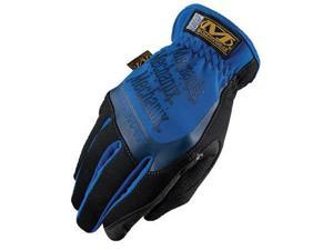 Mechanix Wear® Medium Black And Blue FastFit® Full Finger Synthetic Leather Mechanics Gloves With Elastic Cuff, Spandex® Padded Back, Stretch Panels