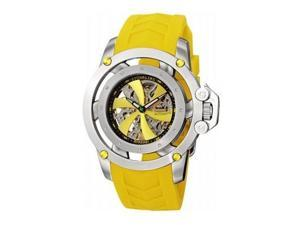 Stuhrling Men's 47mm Yellow Rubber Stainless Steel Case Date Watch 309I.331G18