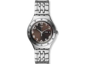 Swatch Men's & Women's 36mm Silver Steel Bracelet & Case Quartz Watch YGS772G