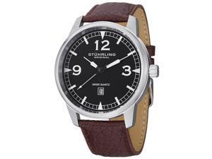 Stuhrling Men's 48mm Brown Calfskin Stainless Steel Case Quartz Watch 1129Q.01