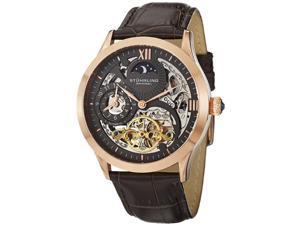 Stuhrling Men's 44mm Automatic Brown Calfskin Sapphire Glass Watch 571.3345K54
