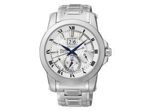 Seiko premier Men's 41.3mm Silver Steel Bracelet & Case Hardlex Watch SNP091