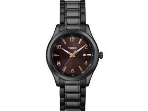 Timex Men's & Women's 40mm Black Steel Bracelet & Case Quartz Date Watch T2N939