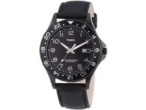 Timex Men's 42mm Black Calfskin Stainless Steel Case Mineral Glass Watch T2P176