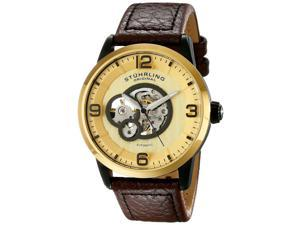 Stuhrling Men's 43mm Brown Calfskin Stainless Steel Case Watch 648.03