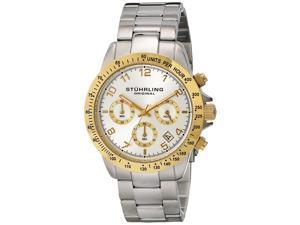 Stuhrling Men's 40mm Chronograph Silver Steel Bracelet & Case Date Watch 665B.03
