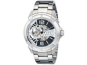 Stuhrling Men's 46mm Silver Steel Bracelet & Case krysterna Date Watch 628.02