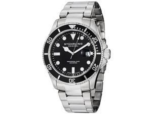 Stuhrling Men's 44mm Silver Steel Bracelet & Case Quartz Date Watch 417.02