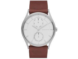 Skagen Men's 40mm Chronograph Brown Calfskin Stainless Steel Case Watch SKW6176