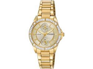 Citizen Women's 33mm Chronograph Gold Steel Bracelet & Case Watch FD3002-51P