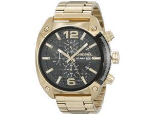 Diesel Men's 49mm Gold Steel Bracelet & Case Mineral Glass Quartz Watch dz4342
