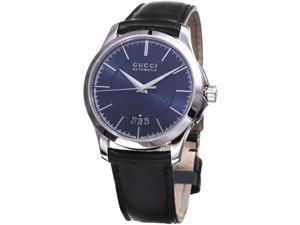 Gucci G-Timeless Men's 38mm Automatic Black Calfskin Date Watch YA126443