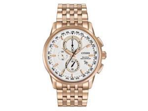 Citizen Men's 43mm Chronograph Gold Steel Bracelet & Case Solar Watch AT8113-55A