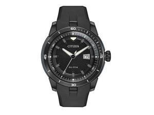 Citizen Men's 47mm Black Rubber Stainless Steel Case Solar Date Watch AW1477-15E