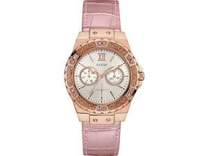 GUESS WOMEN'S LIMELIGHT 38MM PINK LEATHER BAND STEEL CASE QUARTZ WATCH W0775L3