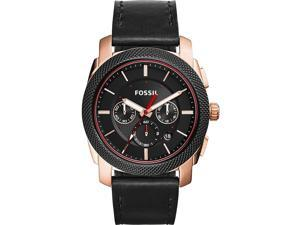 FOSSIL MEN'S BLACK LEATHER BAND STEEL CASE QUARTZ ANALOG WATCH FS5120