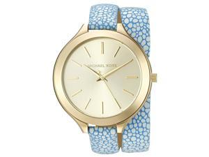 MICHAEL KORS WOMEN'S LEATHER BAND GOLD TONE STEEL CASE QUARTZ WATCH MK2478