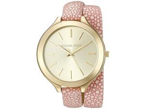 MICHAEL KORS WOMEN'S LEATHER BAND GOLD TONE STEEL CASE QUARTZ WATCH MK2476