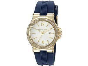 MICHAEL KORS WOMEN'S SILICONE BAND GOLD TONE STEEL CASE QUARTZ WATCH MK2490